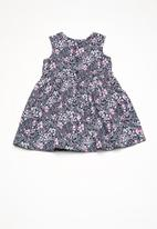 Twin Clothing - Cross over floral print dress - navy