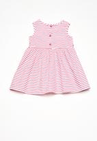 Twin Clothing - Cross over stripe print dress - pink