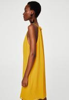MANGO - Textured ruffled dress - yellow