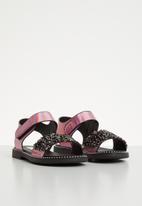 POP CANDY - Glitter metallic sandals - pink & black