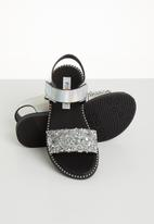 POP CANDY - Glitter metallic sandal - silver