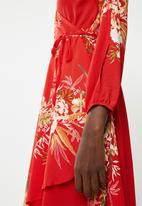 Revenge - Floral faux wrap dress - red