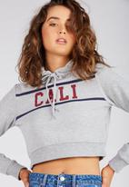 Supré  - Graphic cropped hoodie - grey