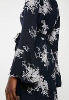 Revenge - Long sleeve floral maxi dress - navy