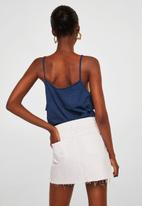 MANGO - Ruffled detail top dark - blue