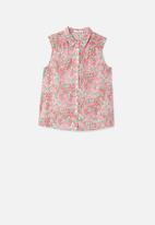 MANGO - Floral sleeveless shirt -  pink