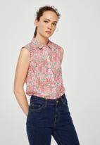 MANGO - Floral sleeveless shirt -  pink