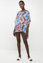 Lithe - Pullover kaftan with piping detail - blue