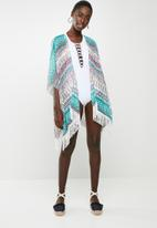 Joy Collectables - Tribal print kimono pale - blue