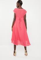 Leigh Schubert - Bella dress with mesh detail - coral