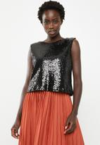 STYLE REPUBLIC - Sequin top - charcoal