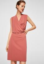 MANGO - Ruched detail dress - peach