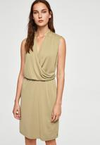 MANGO - Ruched detail dress - green
