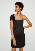 MANGO - Asymmetrical Satin like dress - black