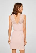 MANGO - Lace panel dress - pink