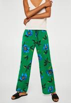 MANGO - Floral print pants - green