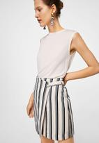 MANGO - Striped wrap skirt navy & white
