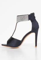 Plum - T-Bar embellished heels - navy