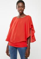 edit - Double layer blouse - red
