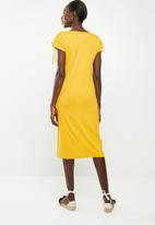 edit - Dress with draw cord sleeve - yellow