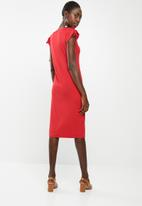 edit - Dress with draw cord sleeve - red