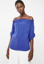 edit - Bardot 3/4 sleeve blouse - blue