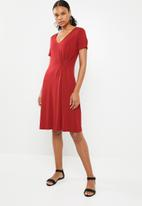 G Couture - Asymmetrical pleat detail dress - red