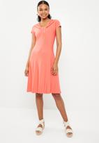 G Couture - Gathered neck detail soft dress - coral