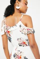 G Couture - Off the shoulder strappy frilled dress - white