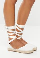 Superbalist - Stacey lace up espadrille - white