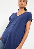 G Couture - Double V-neck asymmetrical tee - Navy