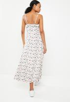G Couture - Buttons and pockets printed dress - white