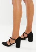 New Look - Cf rampage cross strap block heel - black