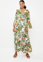 G Couture - Mock wrap printed maxi dress - multi