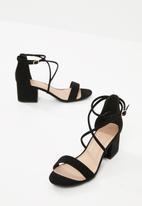 New Look - Salamanca cross strap block  heel sandal - black
