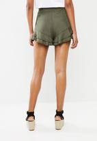 Superbalist - Soft frill shorts - green