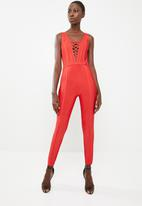 Sissy Boy - Front lace up detailed jumpsuit - red