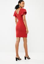 Superbalist - Flute sleeve bodycon dress - red