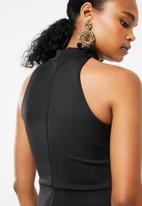 Superbalist - Hi neck midi dress - black