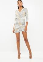 Superbalist - Jacquard knit wrap dress - gold & grey