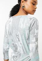 Superbalist - Jacquard knit wrap dress - green & grey