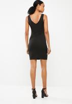 Superbalist - Rib knit sexy dress with trim detail - black