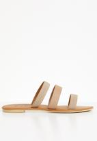 edit - Leather studded sandals - neutral