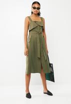 Superbalist - Wrap button up detail safari style dress - khaki