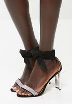 Sissy Boy - Diamante ankle tie heel - black