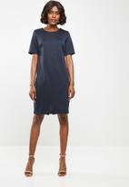 edit - Short sleeve pencil dress - navy