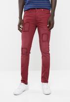 STYLE REPUBLIC - Jabu patch skinny jean - burgundy