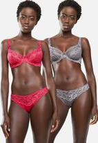 DORINA - Angie 2 pack non padded bra - red & grey