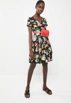 c(inch) - Ruched front fit and flare dress - multi