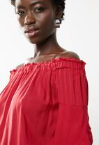 edit - Bardot 3/4 sleeve blouse - red